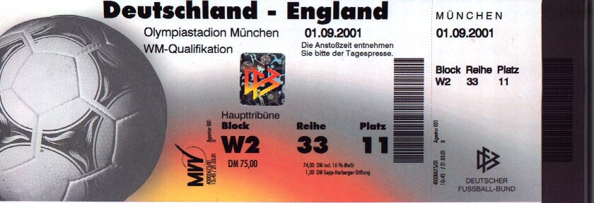 Germany v ENGLAND, 01.09.2001